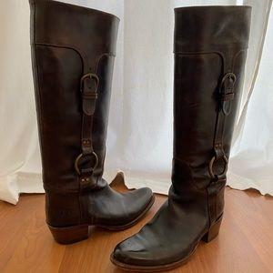 Frye Elizabeth Rings Tall Boots in Dark Brown